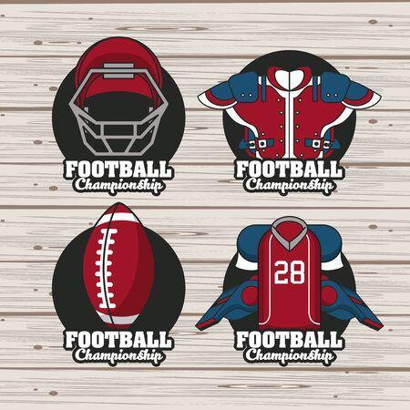 Set of Football sport championship tournament emblems ,vector illustration graphic design.