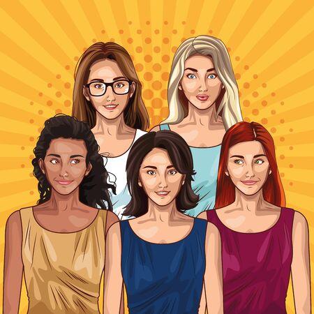 Pop art fashion models women cartoons on yellow striped background ,vector illustration.
