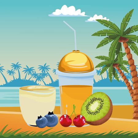 tropical fruit and smoothie drinks with kiwi, cherries and bluberries icon cartoon over the beach with sea landscape vector illustration graphic design