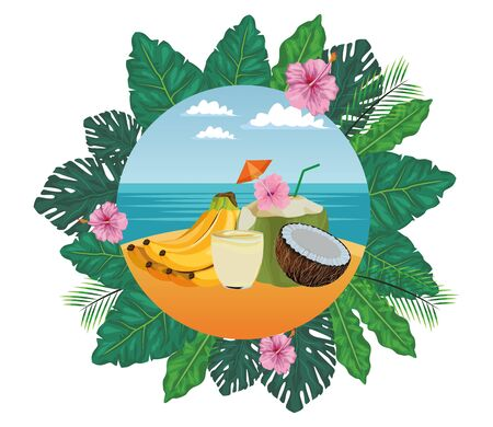 fruit tropical smoothie drink with dome lid, large glass and straw icon cartoon in round icon with leaves in the frame and seascape vector illustration graphic design Çizim