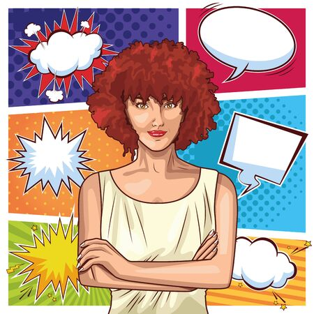 Pop art young woman with short and red curly hair cartoon on bubbles speech colorful frames background ,vector illustration graphic design. Иллюстрация