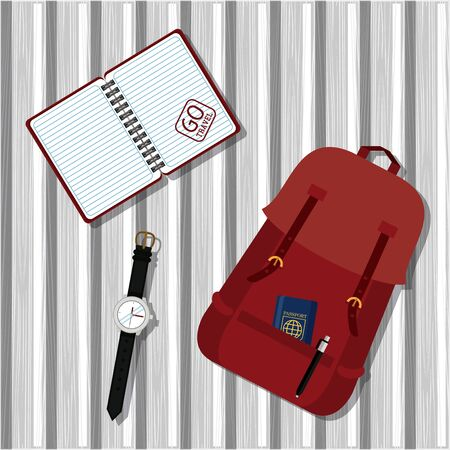 travel journey and tourism with passport inside a bag, diary, wristwatch vector illustration graphic design