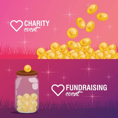 Breast Cancer Awareness Fundraise design with heart and coin, vector illustration Stock Illustratie