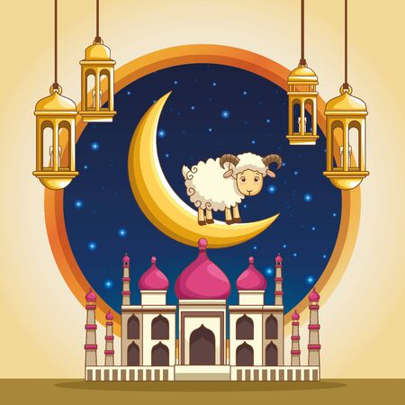 major festival of the Muslims and moon ram mosque chandeliers on night background vector illustration graphic design