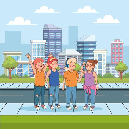 Teenagers friends talking and having fun in the city, people and relationsip, urban youngs and millenials. ,vector illustration graphic design.  イラスト・ベクター素材