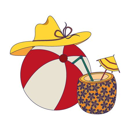 summer beach and vacation with pineapple beverage, beach balloon, beach hat icon cartoons vector illustration graphic design