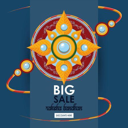 raksha bandhan big sale and discounts advertising poster with indian mandala emblems vector illustration graphic design