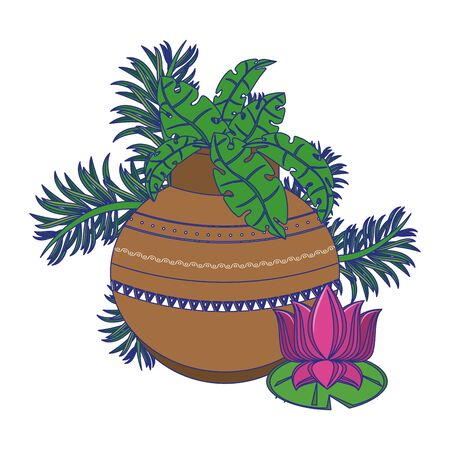 Lotus flower and pot with leaves cartoon isolated vector illustration graphic design Stockfoto - 130707786