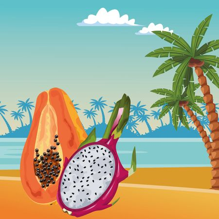 exotic tropical fruit with pitahaya and papaya icon cartoon over the beach with sea landscape vector illustration graphic design