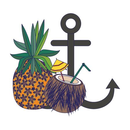 summer beach and vacation with pineapple, coconut beverage, anchor icon cartoons vector illustration graphic design Stock Illustratie