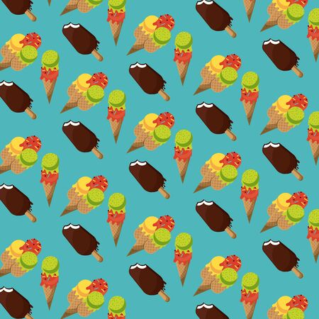 Ice creams and popsicle background cartoons pattern vector illustration graphic design Иллюстрация