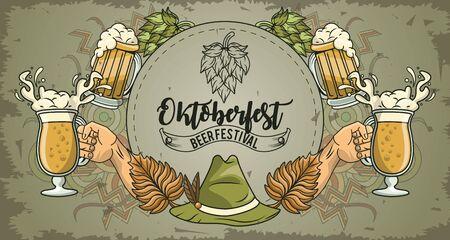 Oktoberfest Celebration banner design with hand cheers, vector illustration Stock Illustratie