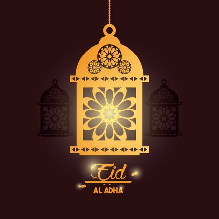 eid al adha feast of the sacrifice with hanging muslim lamp icon cartoon vector illustration graphic design