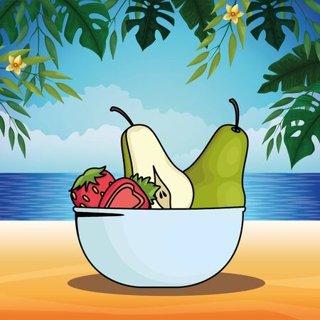 Fresh fruits pears and strawberries in bowl cartoon on beach scenery background vector illustration graphic design