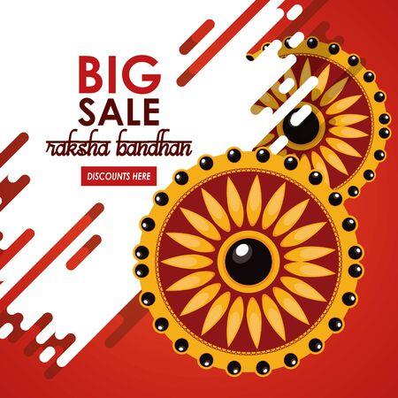 raksha bandhan big sale and discounts advertising poster with indian mandala emblems red and golden colors vector illustration graphic design Banco de Imagens - 130707909
