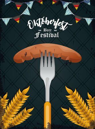 Oktoberfest Celebration banner design with beer and hop cone, vector illustration