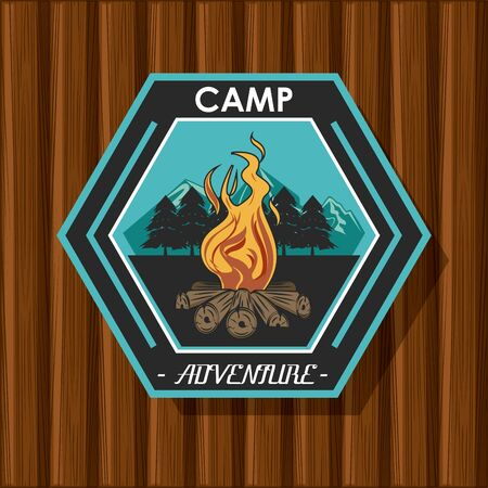 Camping explore summer patch emblem bonfire in mountains vector illustration graphic design Stock Illustratie