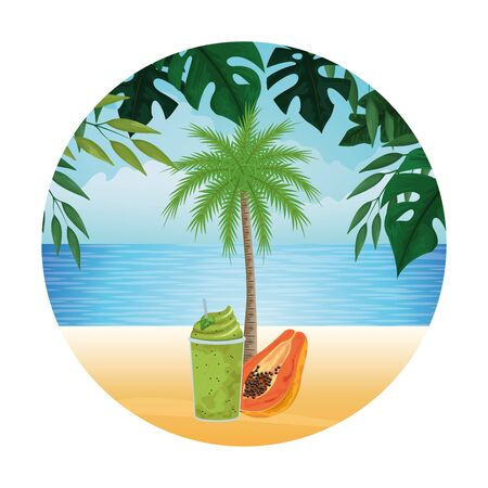 summer beach and vacation with tropical fruit, palm and smoothie drink icon cartoon in round icon over the beach with seascape vector illustration graphic design Stock Illustratie