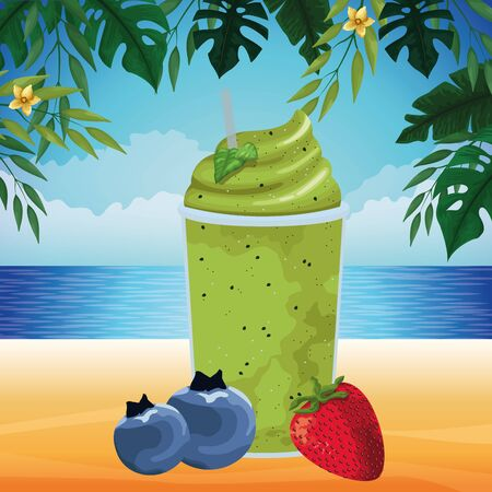 tropical fruit and smoothie drink with bluberries and strawberry icon cartoon over the beach with seascape vector illustration graphic design Çizim