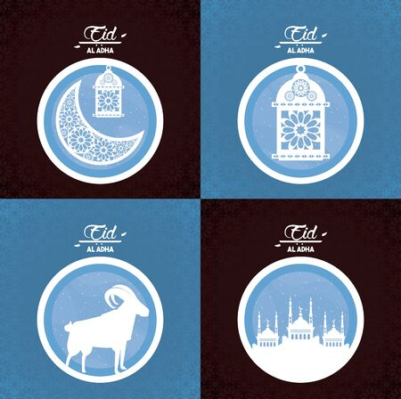 set of eid al adha feast of the muslim with ram silhouette, waning moon, muslim lamp and city silhouette icon cartoon vector illustration graphic design