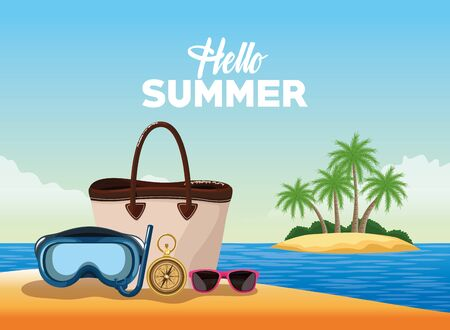 Hello summer card poster with beach cartoons in island scenery vector illustration graphic design