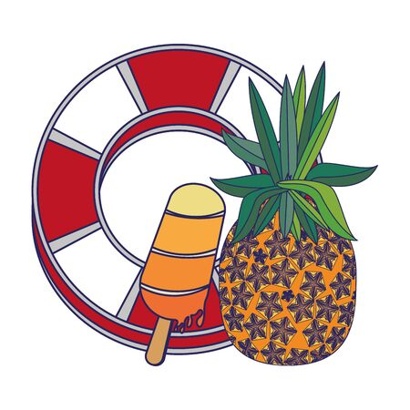 summer beach and vacation with pineapple, ice lolly icon cartoons vector illustration graphic design