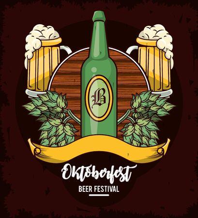 Oktoberfest Celebration poster design with beer and hop cone, vector illustration Stock Illustratie