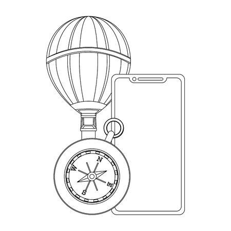 Travel vacations and summer hot air balloon smartphone and navigation compass cartoons vector illustration graphic design