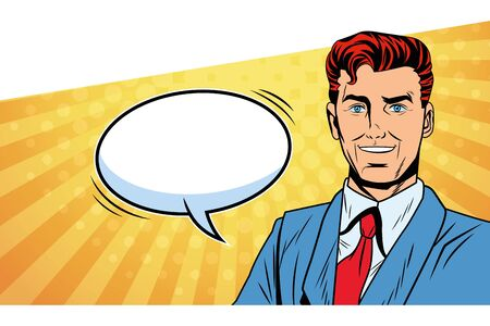 Pop art businessman speech bubble comic panel background redhead vector illustration graphic design Ilustracja