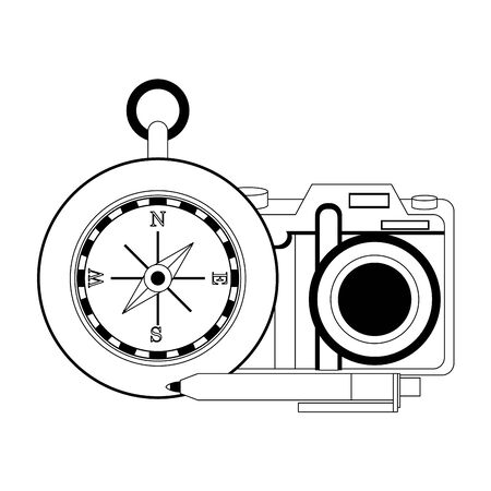 Travel vacations navigation compass camera and pen cartoons vector illustration graphic design Çizim