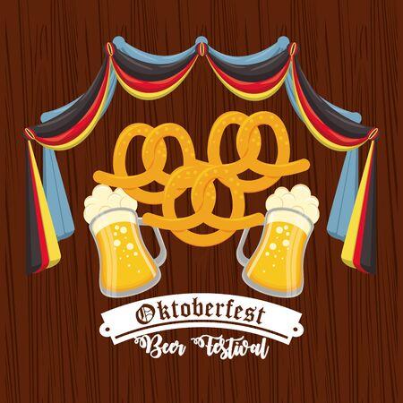 Oktoberfest Celebration design with pretzel and beer, vector illustration