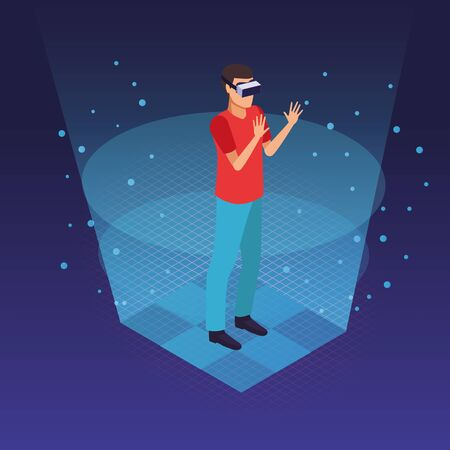 Young man using virtual reality glasses technology inside hologram cone vector illustration