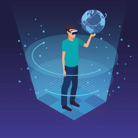 Young man holding world using virtual reality glasses technology inside hologram cone vector illustration Illustration