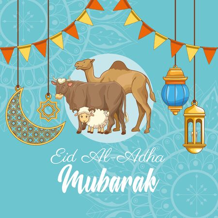 The Feast of Islamic Sacrifice and ram bull camel with islamic ornaments on blue background vector illustration graphic design