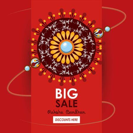 raksha bandhan big sale and discounts advertising poster with indian mandala emblems red and golden colors vector illustration graphic design Ilustração