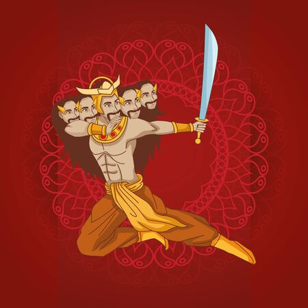 Happy Dussehra Festival of India with Ravana, vector illustration 写真素材 - 130711485
