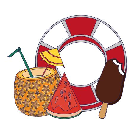 summer beach and vacation with pineapple beverage, watermelon icon cartoons vector illustration graphic design