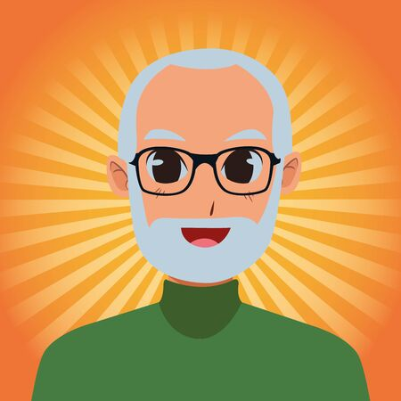 old man smiling and happy isolated on orange striped bakground ,vector illustration graphic design. 矢量图像
