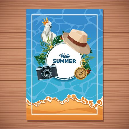 Hello summer card with beach and vacations cartoons on wooden background. Summer and vacations poster.