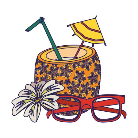 summer beach and vacation with pineapple beverage, sunglasses icon cartoons vector illustration graphic design Stock Illustratie