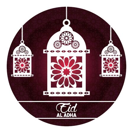 eid al adha feast of the sacrifice with hanging muslim lamp in round icon cartoon vector illustration graphic design Çizim