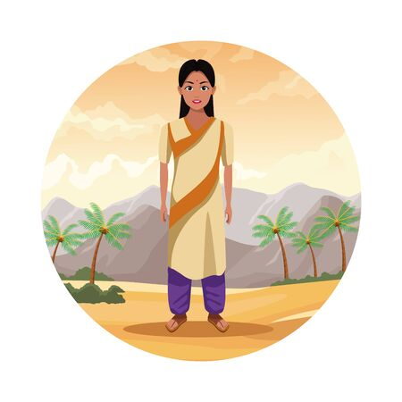 indian indian woman wearing hindu clothes on desertscape round icon scenery cartoon vector illustration graphic design Banque d'images - 130712308
