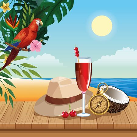 Summer hat cocktail and navigation compass on wooden floor, beach scenery. vector illustration graphic design Çizim