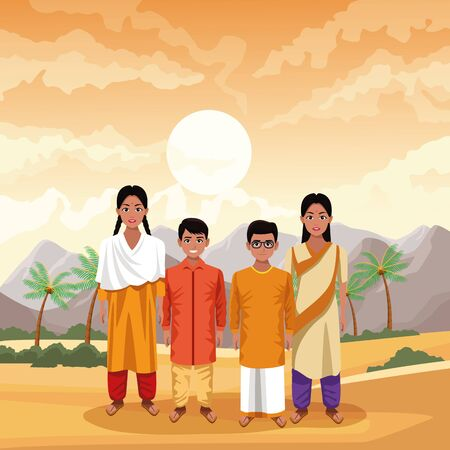 indian family ethnic of india wearing traditional hindu clothes on desertscape scenery vector illustration graphic design