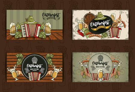 Oktoberfest Celebration banner sets design with beer festival icons, vector illustration