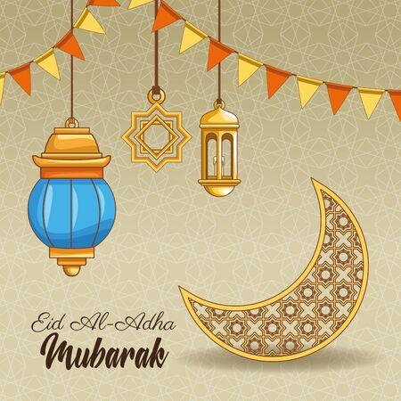 La fête du sacrifice islamique et des dessins animés d'ornements islamiques sur fond d'argent vector illustration graphic design