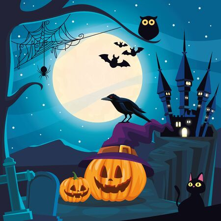 halloween dark scene with pumpkins in cemetery vector illustration design Illusztráció
