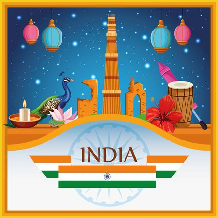 India national monument card with patriotic symbols emblem with flag vector illustration graphic design