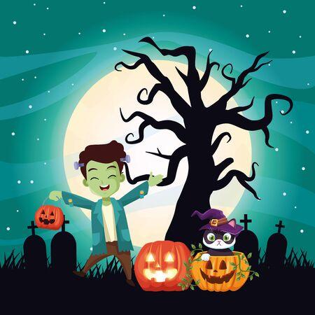 halloween dark scene with boy disguise of frankenstein vector illustration design