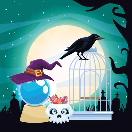 halloween dark scene with witch accessories vector illustration design